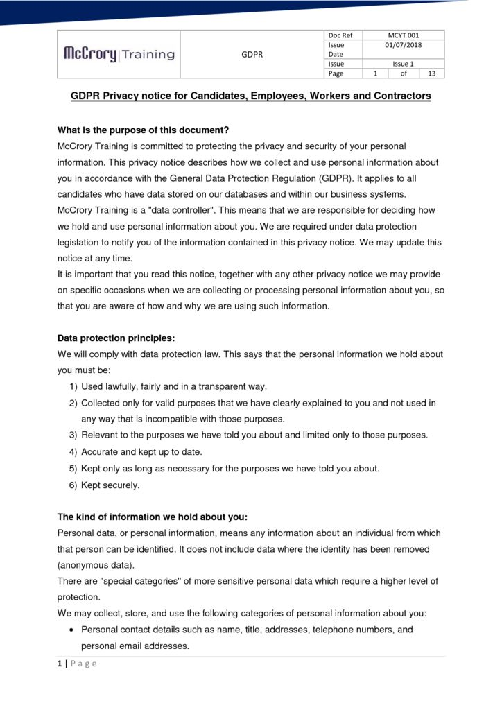 thumbnail of GDPR Privacy notice for candidates
